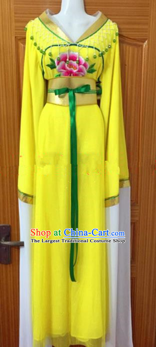 Chinese Traditional Peking Opera Peri Yellow Dress Ancient Maidservants Embroidered Costumes for Women