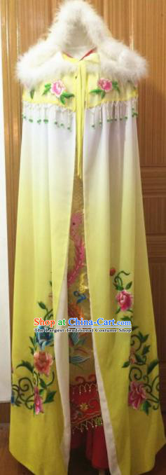 Chinese Traditional Peking Opera Embroidered Yellow Cloak Ancient Princess Cape Costumes for Women