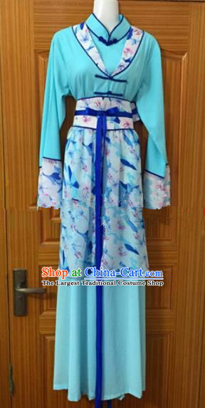 Chinese Traditional Beijing Opera Young Lady Blue Dress Ancient Maidservants Embroidered Costumes for Poor