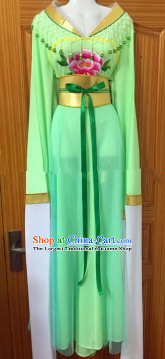 Chinese Traditional Beijing Opera Mui Tsai Green Dress Ancient Peri Embroidered Costumes for Rich