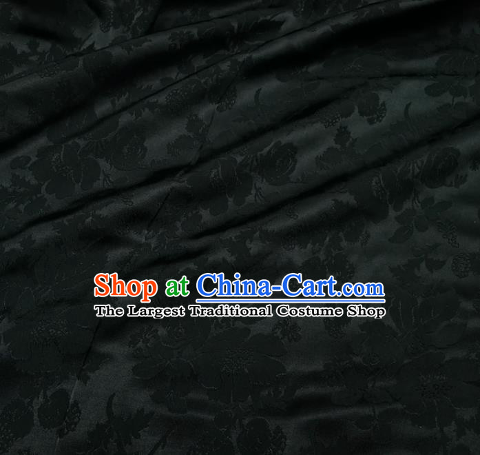 Chinese Royal Black Brocade Palace Rose Pattern Satin Traditional Silk Fabric Chinese Fabric Asian Material