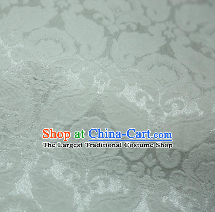 Chinese Royal White Brocade Palace Pattern Satin Traditional Silk Fabric Chinese Fabric Asian Material