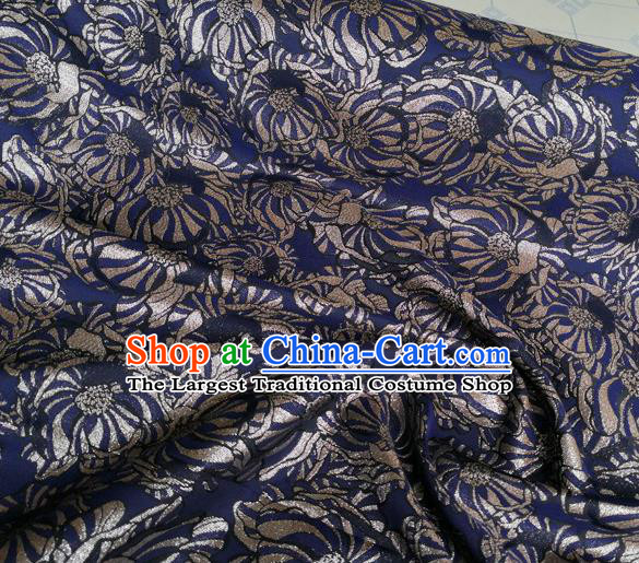 Chinese Royal Brocade Palace Pattern Navy Satin Traditional Silk Fabric Chinese Fabric Asian Material