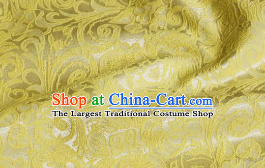 Chinese Royal Yellow Brocade Palace Pattern Satin Traditional Silk Fabric Chinese Fabric Asian Material