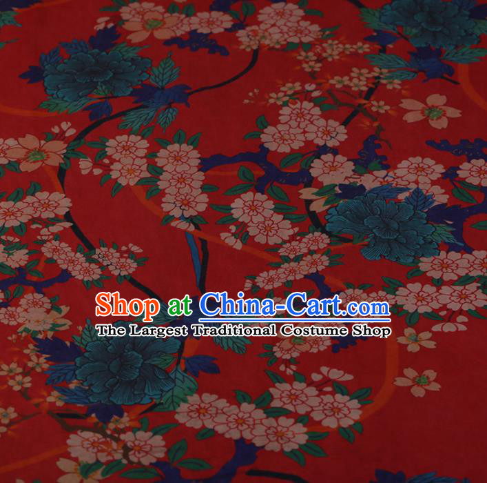 Chinese Red Crepe Satin Plain Palace Flowers Pattern Traditional Cheongsam Silk Fabric Chinese Fabric Asian Material