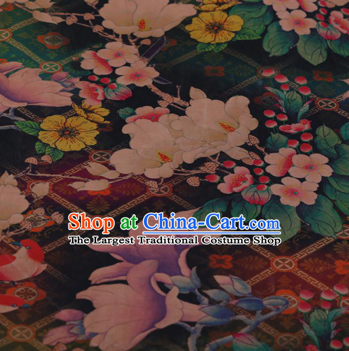 Chinese Crepe Satin Plain Palace Flowers Pattern Traditional Cheongsam Silk Fabric Chinese Fabric Asian Material
