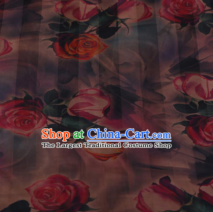 Chinese Crepe Satin Plain Palace Roses Pattern Traditional Cheongsam Silk Fabric Chinese Fabric Asian Material