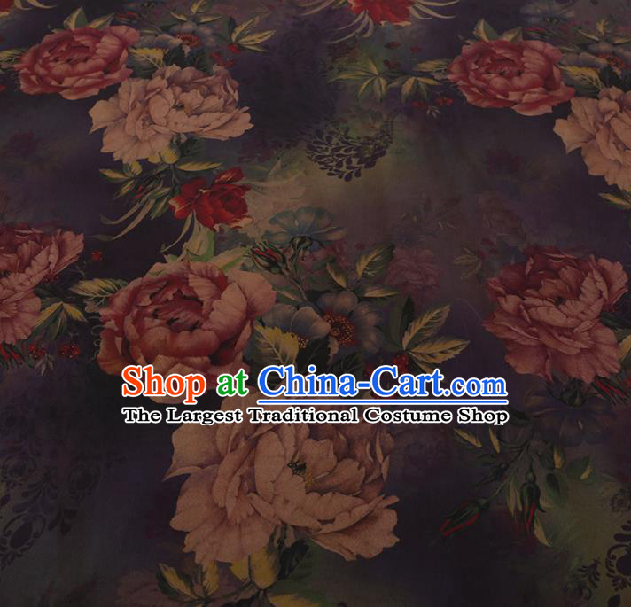 Chinese Traditional Cheongsam Purple Crepe Satin Plain Palace Peony Pattern Silk Fabric Chinese Fabric Asian Material
