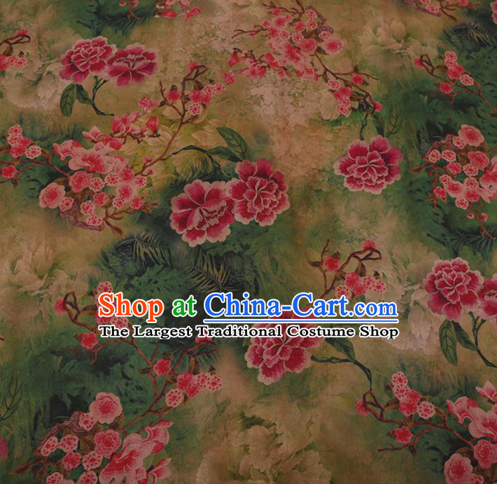 Chinese Traditional Cheongsam Crepe Satin Plain Palace Red Peony Pattern Silk Fabric Chinese Fabric Asian Material