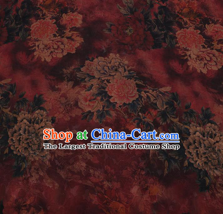 Chinese Traditional Cheongsam Red Crepe Satin Plain Palace Peony Pattern Silk Fabric Chinese Fabric Asian Material