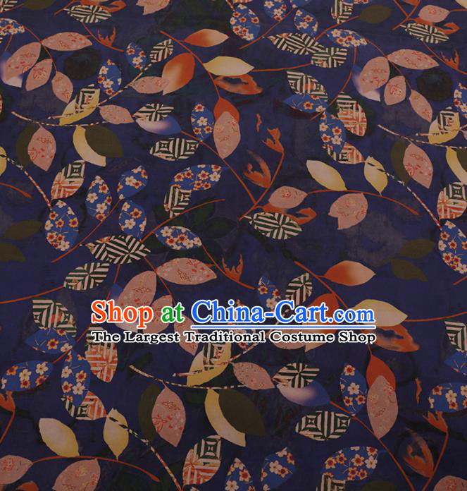 Chinese Traditional Cheongsam Palace Leaf Pattern Blue Crepe Satin Plain Gambiered Guangdong Gauze Silk Fabric