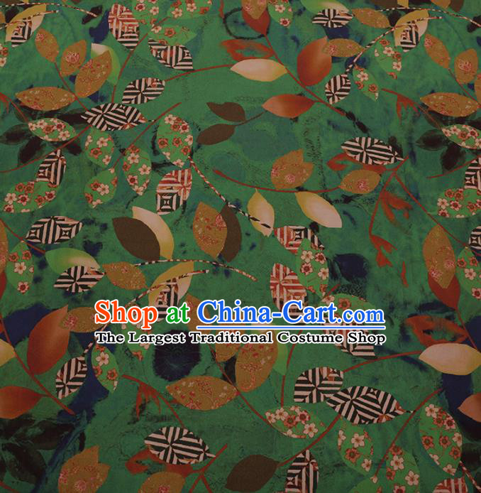 Chinese Traditional Cheongsam Palace Leaf Pattern Green Crepe Satin Plain Gambiered Guangdong Gauze Silk Fabric
