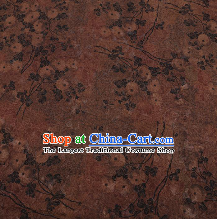 Chinese Traditional Cheongsam Brown Crepe Satin Plain Palace Pattern Silk Fabric Chinese Fabric Asian Material