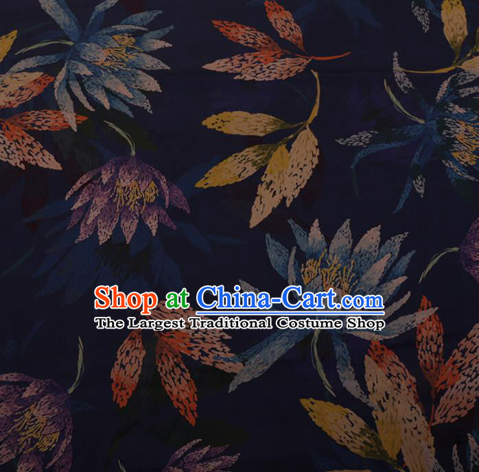 Chinese Traditional Cheongsam Silk Fabric Palace Flowers Pattern Navy Satin Plain Gambiered Guangdong Gauze