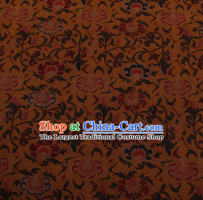 Chinese Traditional Cheongsam Silk Fabric Palace Peony Pattern Yellow Satin Plain Gambiered Guangdong Gauze