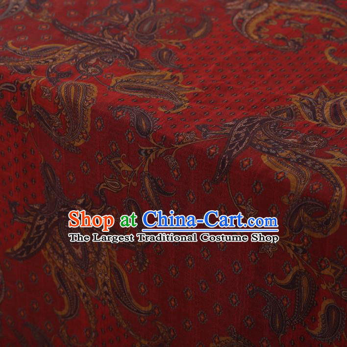 Chinese Traditional Cheongsam Silk Fabric Palace Pattern Red Satin Plain Gambiered Guangdong Gauze