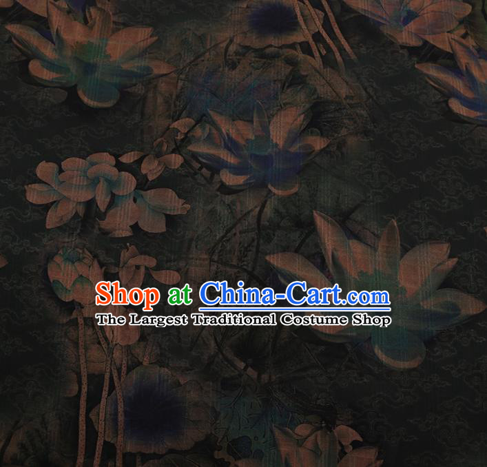Chinese Traditional Cheongsam Silk Fabric Palace Lotus Pattern Satin Plain Gambiered Guangdong Gauze