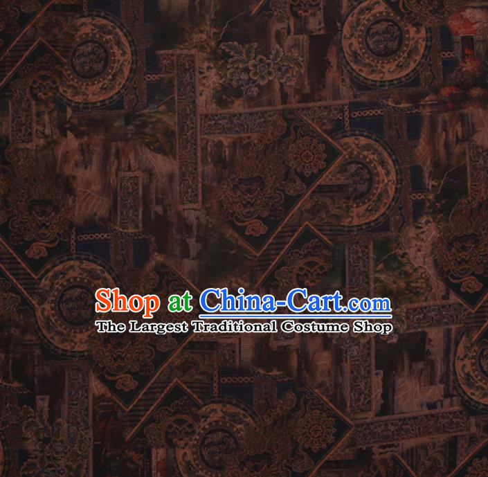 Chinese Traditional Cheongsam Silk Fabric Palace Pattern Brown Satin Plain Gambiered Guangdong Gauze