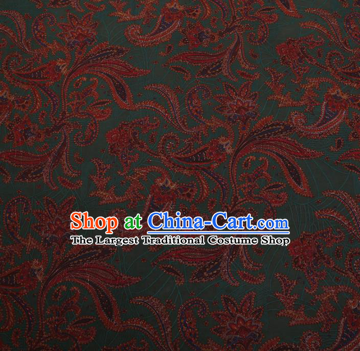 Chinese Traditional Cheongsam Silk Fabric Palace Pattern Green Satin Plain Gambiered Guangdong Gauze