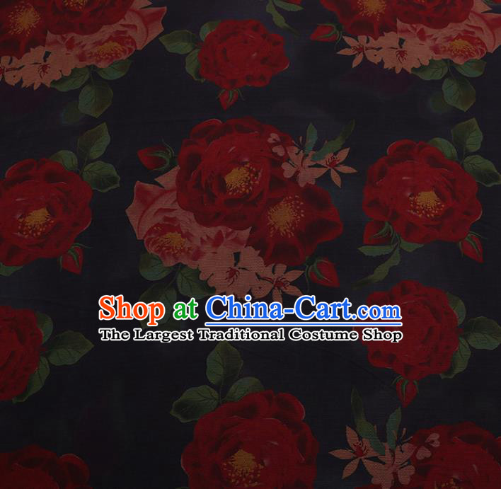 Chinese Traditional Cheongsam Silk Fabric Palace Peony Pattern Navy Satin Plain Gambiered Guangdong Gauze