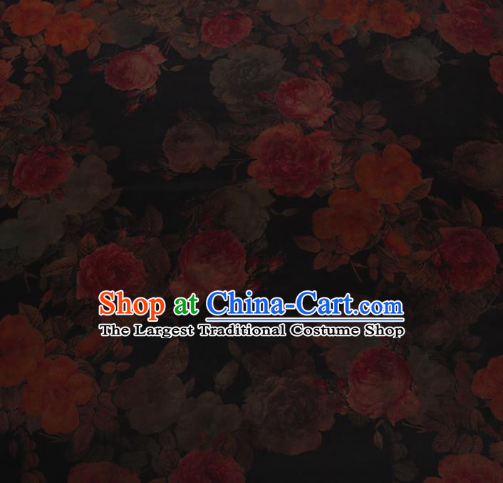 Chinese Traditional Cheongsam Palace Peony Pattern Crepe Satin Plain Gambiered Guangdong Gauze Silk Fabric