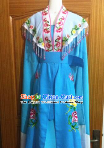Chinese Traditional Peking Opera Embroidered Blue Dress Ancient Peri Costumes for Women