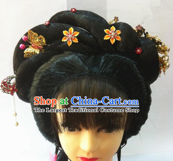 Chinese Traditional Ancient Beijing Opera Hair Accessories Wig Sheath and Hairpins for Women
