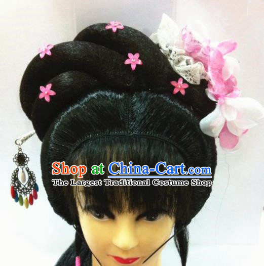 Chinese Traditional Beijing Opera Hair Accessories Ancient Princess Wig Sheath and Hairpins for Women