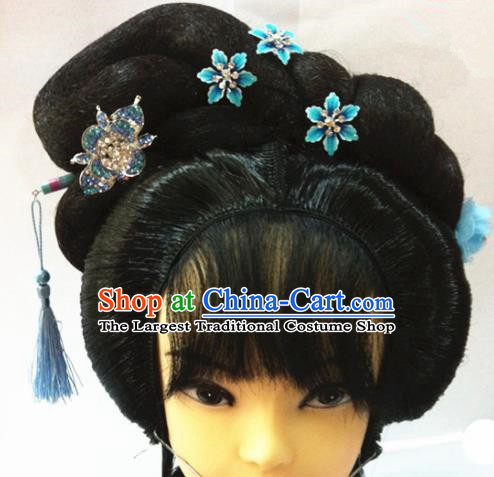 Chinese Traditional Beijing Opera Actress Hair Accessories Ancient Princess Wigs Sheath and Blue Hairpins for Women