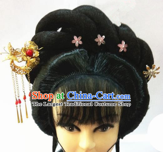 Chinese Traditional Ancient Beijing Opera Actress Wigs Sheath and Hairpins Complete Set for Women