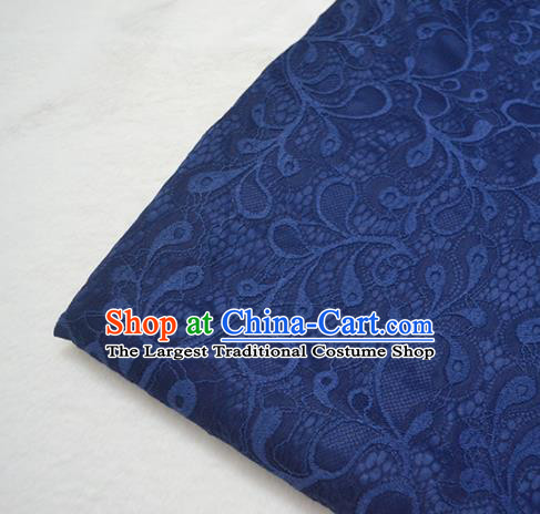 Chinese Royal Navy Brocade Palace Pattern Traditional Silk Fabric Chinese Fabric Asian Material