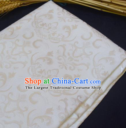 Chinese Royal White Brocade Palace Pattern Traditional Silk Fabric Chinese Fabric Asian Material