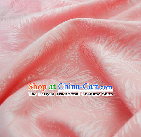 Chinese Royal Pink Brocade Palace Feather Pattern Traditional Silk Fabric Chinese Fabric Asian Material