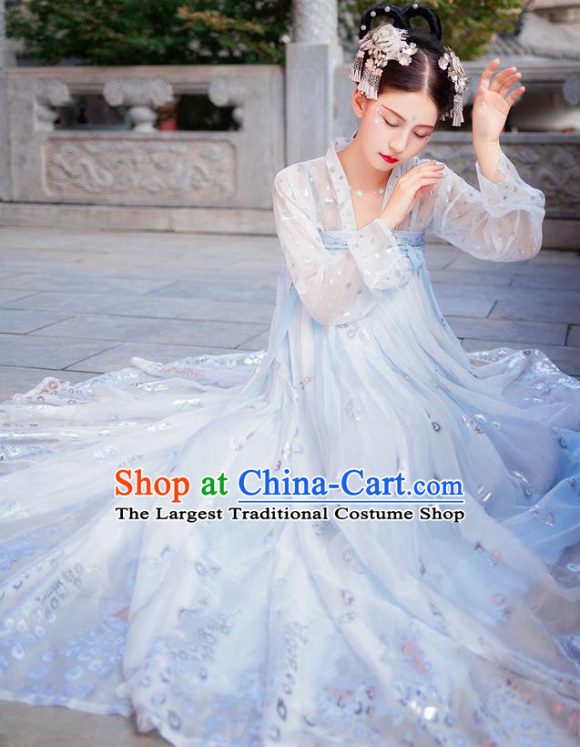 Chinese Tang Dynasty Imperial Consort Royal Embroidered Costumes Ancient Fairy Blue Hanfu Dress for Women