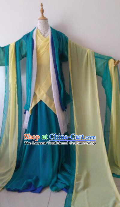 Traditional Chinese Cosplay Madam White Snake Green Hanfu Dress Ancient Swordswoman Costume for Women