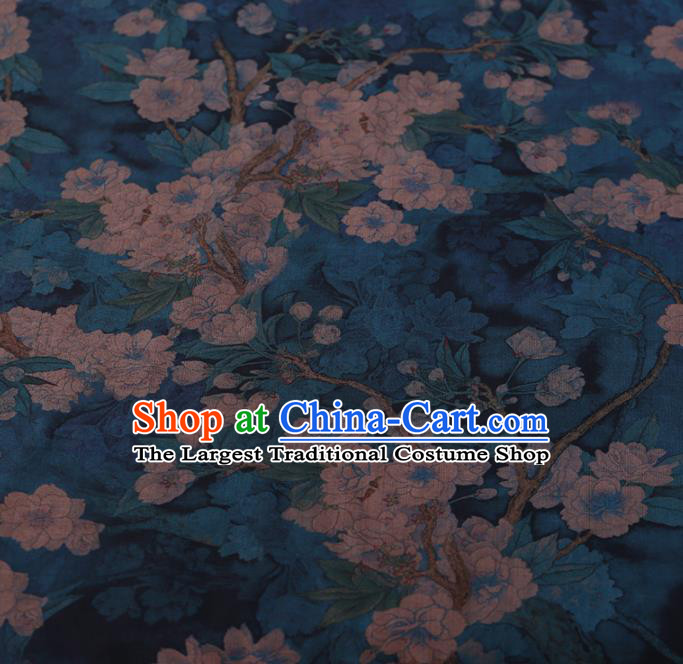 Chinese Traditional Cheongsam Silk Fabric Palace Pear Flowers Pattern Blue Satin Plain Gambiered Guangdong Gauze