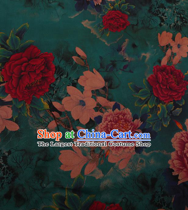Chinese Traditional Cheongsam Silk Fabric Palace Peony Flowers Pattern Green Satin Plain Gambiered Guangdong Gauze