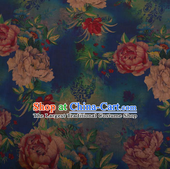 Chinese Traditional Cheongsam Silk Fabric Palace Peony Pattern Blue Satin Plain Gambiered Guangdong Gauze