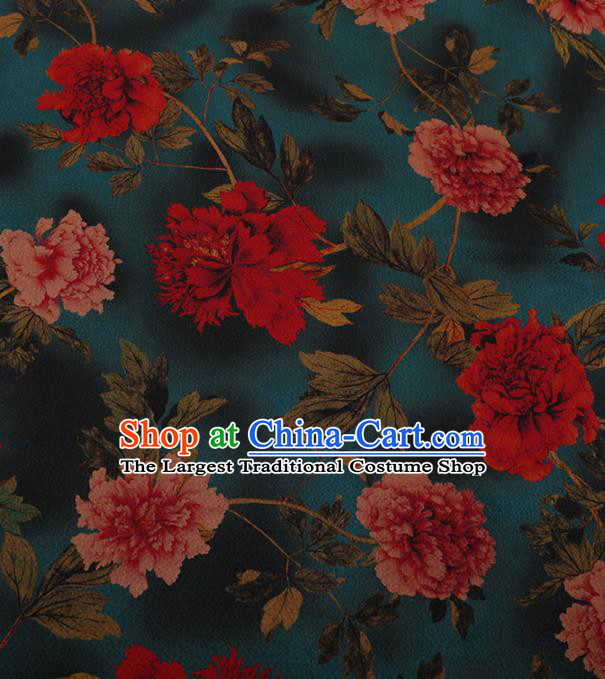 Chinese Traditional Cheongsam Green Silk Fabric Palace Peony Pattern Jacquard Satin Plain Gambiered Guangdong Gauze