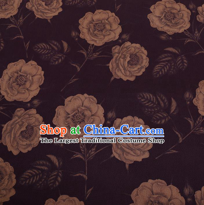 Chinese Traditional Cheongsam Purple Silk Fabric Palace Peony Pattern Jacquard Satin Plain Gambiered Guangdong Gauze