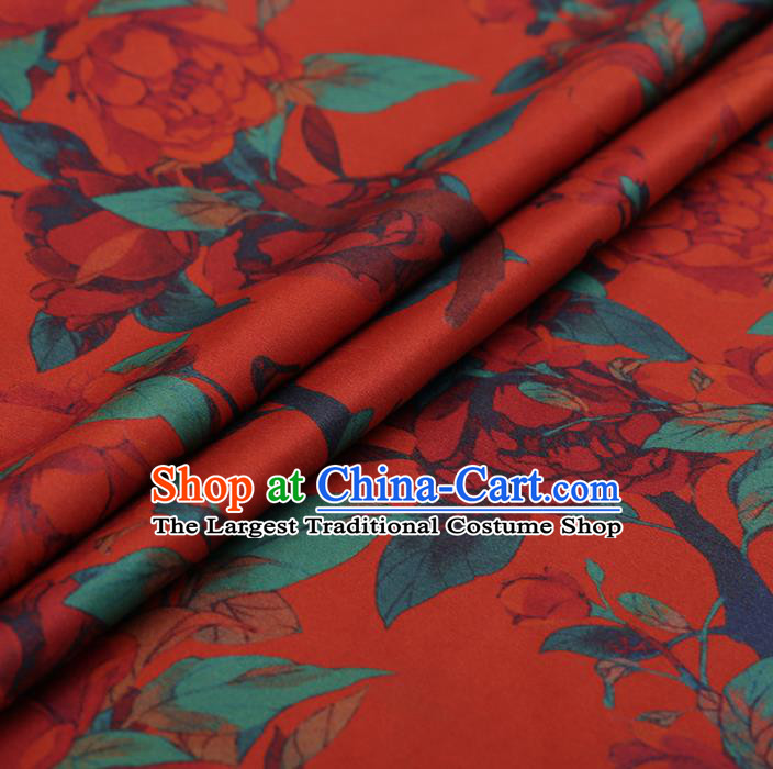 Chinese Traditional Cheongsam Red Silk Fabric Palace Peony Pattern Jacquard Satin Plain Gambiered Guangdong Gauze