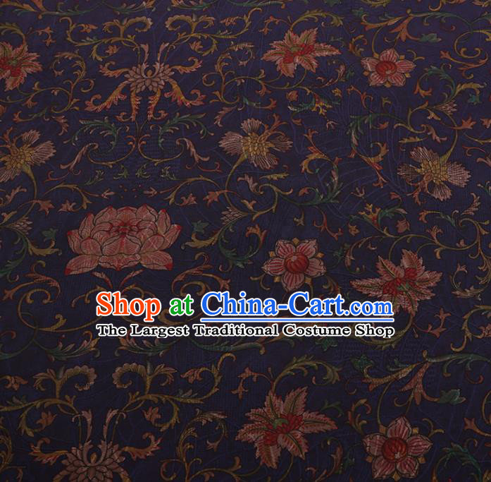 Chinese Traditional Cheongsam Navy Silk Fabric Palace Lotus Pattern Jacquard Satin Plain Gambiered Guangdong Gauze