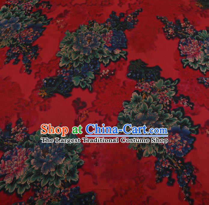 Chinese Traditional Red Silk Fabric Palace Peony Pattern Cheongsam Jacquard Satin Plain Gambiered Guangdong Gauze