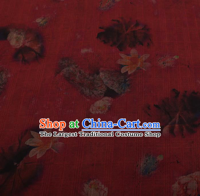 Chinese Traditional Red Silk Fabric Palace Lotus Pattern Cheongsam Jacquard Satin Plain Gambiered Guangdong Gauze