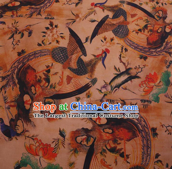 Chinese Traditional Silk Fabric Palace Phoenix Pattern Cheongsam Jacquard Satin Plain Gambiered Guangdong Gauze