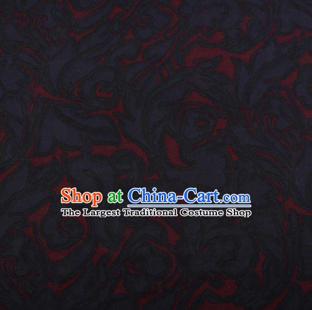 Chinese Traditional Black Silk Fabric Palace Pattern Cheongsam Jacquard Satin Plain Gambiered Guangdong Gauze