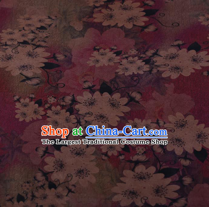 Chinese Traditional Drapery Purple Silk Fabric Palace Flowers Pattern Cheongsam Satin Plain Gambiered Guangdong Gauze