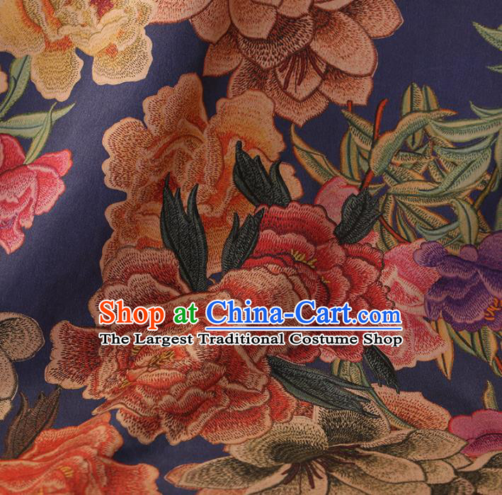 Chinese Traditional Drapery Blue Silk Fabric Palace Peony Flowers Pattern Cheongsam Satin Plain Gambiered Guangdong Gauze