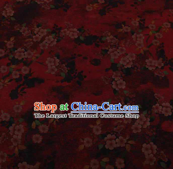 Chinese Traditional Drapery Red Silk Fabric Palace Plum Blossom Pattern Cheongsam Satin Plain Gambiered Guangdong Gauze