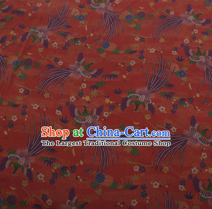 Chinese Classical Cheongsam Drapery Red Silk Fabric Traditional Phoenix Pattern Satin Plain Gambiered Guangdong Gauze